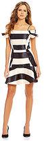 Gianni Bini Constance Off-The-Shoulder Stripe Satin Dress
