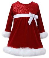 Bonnie Baby Size 24M Long Sleeve Sequin Santa Dress in Red