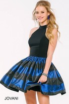 Jovani Two Piece Halter Short Dress with Stripe Skirt 40448