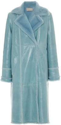 Emilio Pucci Coated Leather Fur-Trimmed Long Coat Size: 42