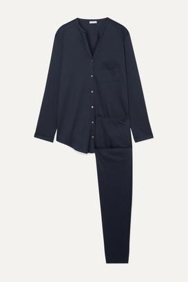 Hanro Pure Essence Mercerized Cotton-jersey Pajama Set - Midnight blue