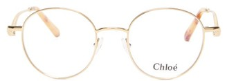 Chloé Ayla Round-frame Metal Glasses - Womens - Gold