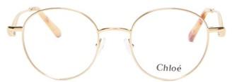 Chloé Ayla Round-frame Metal Glasses - Womens - Gold