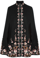 Vilshenko Embroidered Wool-blend Cape - Black
