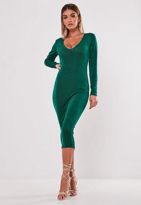 Missguided Teal Slinky V Neck Long Sleeve Midi Dress