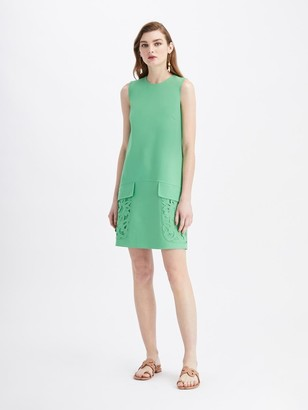 Oscar de la Renta Stretch Wool Embroidered Pocket Day Dress