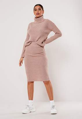 Missguided Rose Roll Neck Jumper And Midi Skirt Co Ord Set