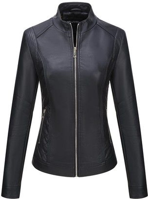 Bellivera Women's Faux Leather Casual Short JacketMoto Coat with 2 Zipper Pockets for Spring and Autumn Black Small