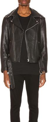 Keiser Clark Pebbled Leather Biker Jacket in Black | FWRD