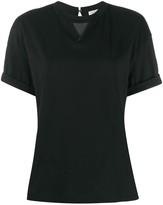 Brunello Cucinelli textured panel folded sleeve T-shirt