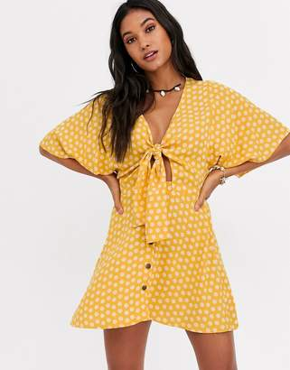 Rip Curl Coastal Tides tie up beach midi dress in yellow