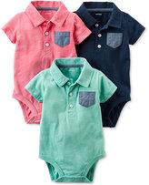 Carter's 3-Pk. Chambray-Pocket Polo Bodysuits, Baby Boys (0-24 months)