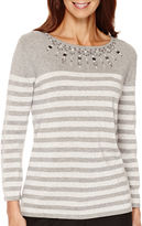 Alfred Dunner 3/4-Sleeve Striped Sweater