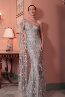 Gemy Maalouf Fitted Cut Sequined Gown