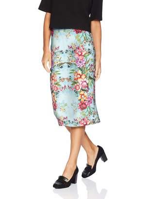 ECI New York New York Women's Elastic Waist Pull on Printed midi Length Skirt