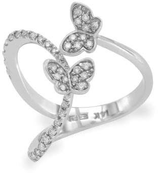 Effy 14K White Gold & Diamond Butterfly Ring Size 7.5
