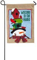 """Evergreen Welcome"""" Snowman Indoor / Outdoor Burlap Garden Flag"""