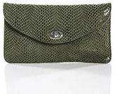 Sorial Olivine Green Patent Leather Snakeskin Print Twist Lock Closure Crossbody
