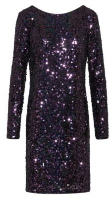HUGO BOSS Sequined Dress With Long Sleeves - Red