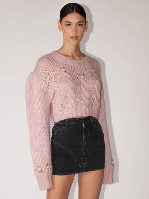 Alessandra Rich Cropped Crewneck Wool Wave Knit Sweater