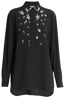 Givenchy Crystal Embellished Silk Blouse