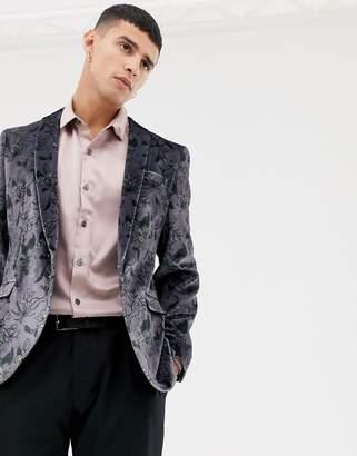 Noose & Monkey Super Skinny Blazer In Floral Velvet-Purple