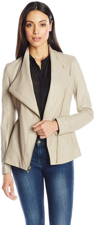 Via Spiga Women's Drape Front Leather Jacket