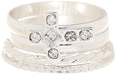 Carole Crystal & Stainless Steel Cross Stackable Ring Set