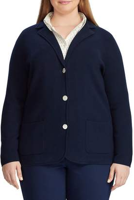 Chaps Plus Cotton-Blend Sweater Blazer