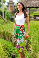 Rayon Wrap Around Skirt in Bright Tropical Colors, 'Floral Fantasy'