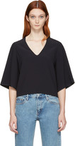 Helmut Lang Navy Deep V-Neck Blouse