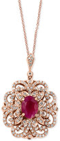 Effy Amoré by Certified Ruby (1-3/8 ct. t.w.) and Diamond (3/8 ct. t.w.) Pendant Necklace in 14k Rose Gold