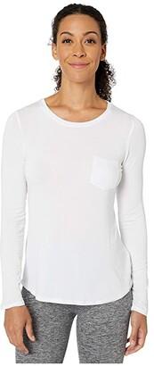 Prana Foundation Long Sleeve Crew Neck Top (White) Women's Clothing