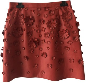 Elie Saab Red Leather Skirt for Women
