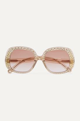Chloé Oversized Crystal-embellished Square-frame Acetate Sunglasses - Brown