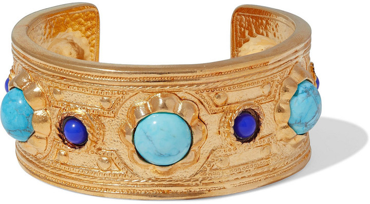Ben-Amun 24-karat Gold-plated, Turquoise And Stone Cuff