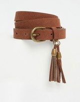 Glamorous Faux Suede Tan Belt with Double Tassel