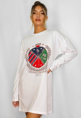 Missguided White Oversized Graphic Long Sleeve T Shirt Dress