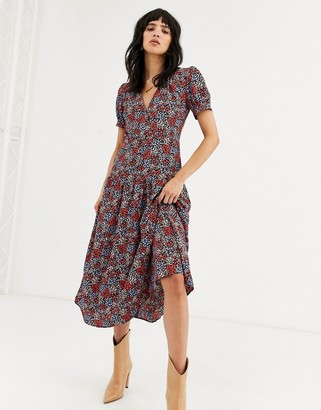 Topshop floral cluster midi dress in multi-Yellow