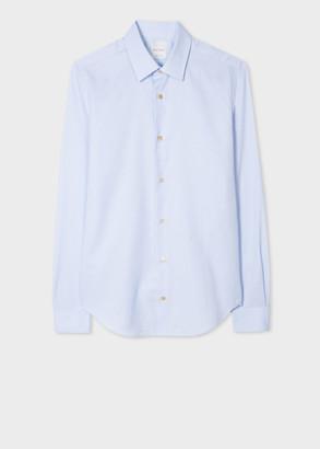 Paul Smith Men's Super Slim-Fit Blue Woven Stripe Cotton Shirt