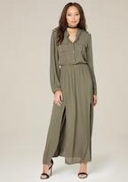 Bebe Military Maxi Dress