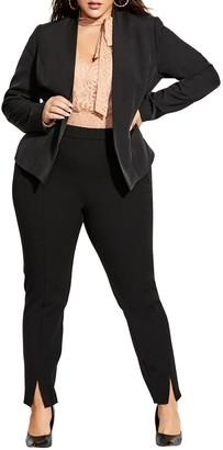 City Chic Classy Sassy Faux Leather Trim Blazer (Plus Size)