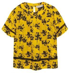 MICHAEL Michael Kors Pintucked Floral-print Crepe Top