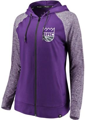 Möve Women's Fanatics Branded Purple/Heathered Purple Sacramento Kings Made to Static Raglan Performance Full-Zip Hoodie