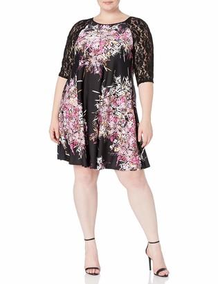 Julian Taylor Women's Plus Size 3/4 Lace Sleeve Trapeze Dress
