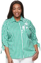 Croft & Barrow Plus Size Embroidered Button Down with Tie Sleeves