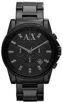 Armani Exchange Mens Round Black Stainless Steel Watch with Swarovski Stones