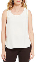 Jones New York Mesh Trim HI-Low Shirttail Hem Tank Top