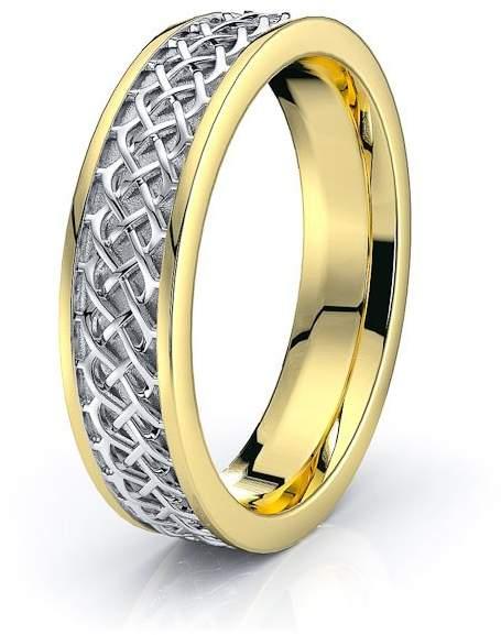Celtic Alganati 10K White Yellow Gold 4.5mm Knot Wedding Band Rings