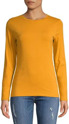 Lord & Taylor Petite Long Sleeve Essential Cotton T-Shirt